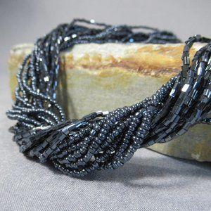 Multi Strand Black Glass Beaded Necklace